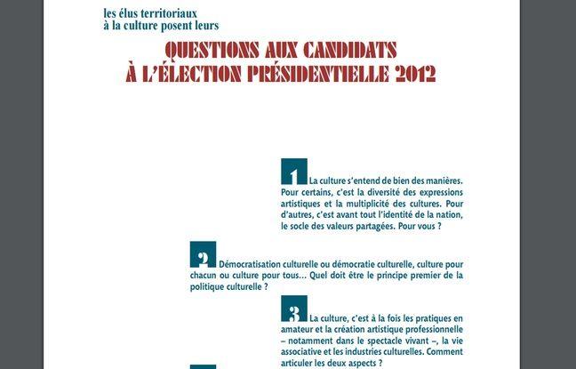 Questionnaire de la Fédération nationale des collectivités territoriales pour la culture adressée aux candidats à la présidentielle 2012.