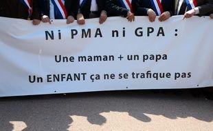 Des élus opposés à la PMA et à la GPA manifestent le 5 mai 2013, à Lyon