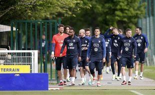 Les Bleus s'apprêtent à s'entraîner à Clairefontaine, le 28 mai 2015.