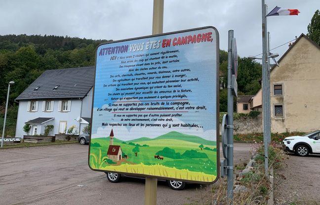 Le panneau à Muhlbach-sur Munster (Haut-Rhin), le 6 octobre 2020.
