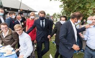 Agnès Evren, François Baroin et Christian Jacob à la rentrée des Républicains au Port-Marly (Yvelines), le 5 septembre 2020.