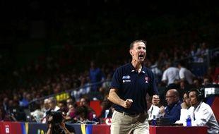 Le sélectionneur de l'équipe de France de basket, Vincent Collet, après la victoire contre l'Espagne, en quart de finale des mondiaux 2014.