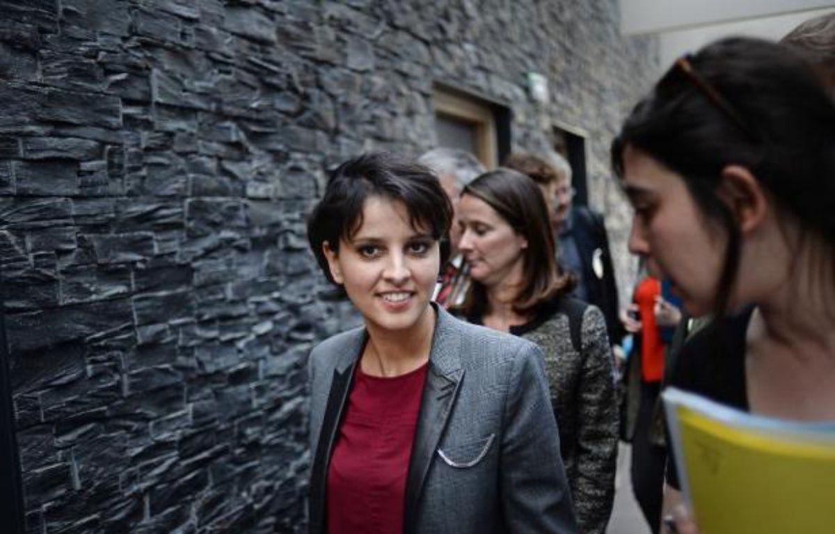 La ministre de l'Education nationale Najat Vallaud-Belkacem, en visite dans un lycée de Nantes, le 9 avril 2015 – Jean-Sebastien Evrard AFP