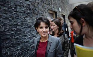 La ministre de l'Education nationale Najat Vallaud-Belkacem, en visite dans un lycée de Nantes, le 9 avril 2015