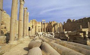 Les ruines de la basilique sévérienne à Leptis Magna, site archéologique proche de la capitale libyenne Tripoli, le 31 décembre 2010.