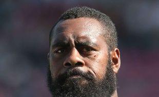 Le pilier fidjien Manasa Saulo avant le match amical entre les Fidji et le Canada au Stoop de Twickenham, à Londres, le 6 septembre 2015.