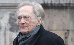 Philippe Tesson à Paris le 6 janvier 2015 pour les funérailles de Jacques Chancel