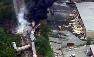 Un train de marchandises a déraillé près de Baltimore, dans le Maryland, le 28 mai 2013.