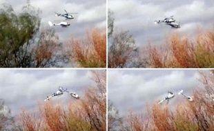 Montage de quatre vues de la collision entre deux hélicoptères survenue le 9 mars 2015 à La Rioja en Argentine