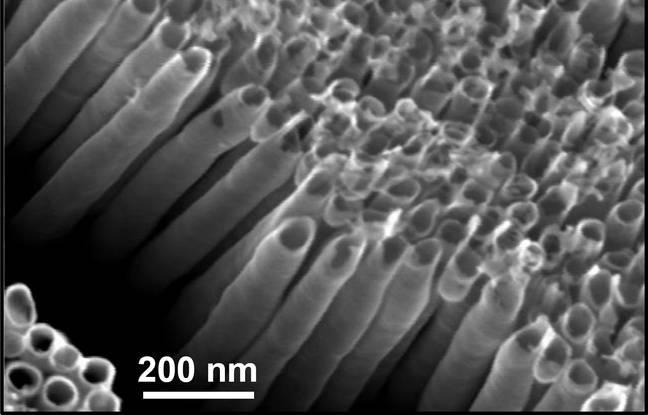Des nanotubes en dioxyde de titane, à l'origine de la réaction chimique entre le soleil et l'eau pour générer du carburant solaire.