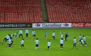 L'équipe de France de football à l'entraînement à Wembley le 16 novembre 2015.