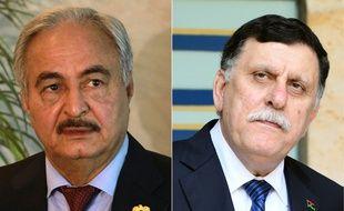 L'homme fort de l'est Khalifa Haftar et le chef du gouvernement de Tripoli Fayez al-Sarraj.