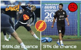 Le match entre Antoine Griezmann et Luis Suarez devrait tourner en la faveur du Français selon les statistiques.