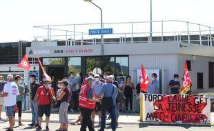 Manifestation des salariés de Getrag, sur le site de Blanquefort (Gironde), le 10 septembre 2020.