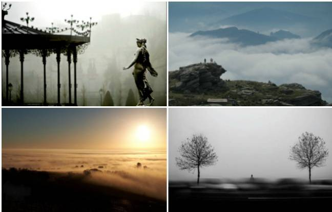 Un manège, des randonneurs dans des vallées, un paysage du Bas-Rhin et une route dans la brume.