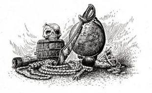Une illustration tirée du Pirate de l'au-delà, «Un livre dont vous êtes le héros» inédit.