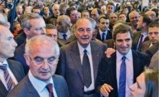 Jacques Chirac n'a pas lâché l'épaule de Christian Jacob, hier.