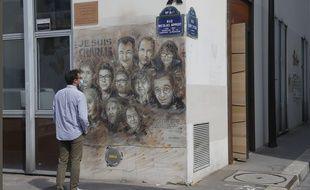 Le 2 septembre 2020, devant les anciens locaux de Charlie Hebdo.