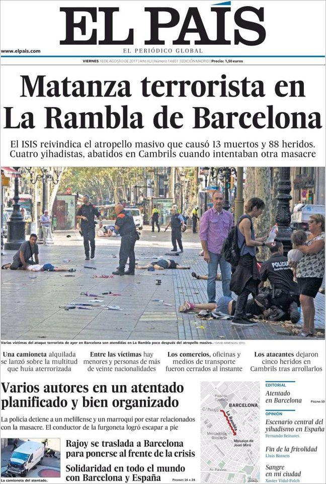 Attentats en catalogne l 39 horreur et la douleur en une de la presse e - Nom de journal espagnol ...