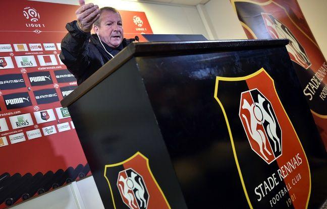 Rolland Courbis lors de sa première conférence de presse rennaise, le 21 janvier 2016.