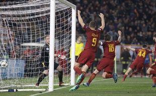 Les joueurs de la Roma, après le troisième but.