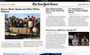 L'application du New York Times offre une mise en page proche du journal papier, avec une sélection d'articles gratuits. Le Times passera cependant au partiellement payant cet été