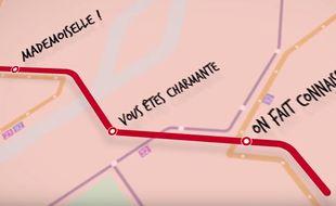 Un panneau de la campagne contre le harcèlement des femmes dans le métro parisien, dévoilé le 9 novembre 2015.