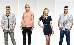 Yoann, Nadège, Audrey et Julien : candidats de l'émission Secret Story pour la dernière émission du vendredi 7 septembre 2012..