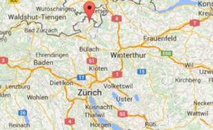 Google Map de Rafz, en Suisse, où a eu lieu la collision.