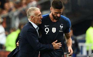 Didier Deschamps et Olivier Giroud lors de France-Pays-Bas, le 9 septembre 2018 au Stade de France.