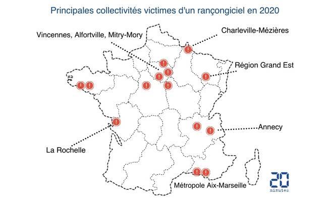 Principales collectivités qui ont été victimes d'un rançongiciel en 2020. La liste complète figure en bas de l'article.