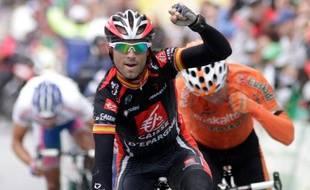 Le coureur de la Caisse d'Epargne Alejandro Valverde remporte le Tour de Romandie, le 2 mai 2010