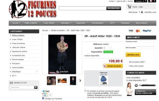 """Capture d'écran du site """"Figurines 12pouces"""" proposant une figure d'Adolf Hitler, réalisée le 29 décembre 2011."""