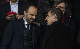 Le Premier ministre Edouard Philippe et l'ancien président de la République Edouard Philippe avant un match du PSG au Parc des Princes le 6 mars 2018.