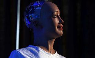 Le robot Sophia de  Hanson Robotics le 21 mars 2018.