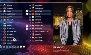 Virginie Guilhaume a révélé les points du jury français lors de la finale de l'Eurovision, en mai 2015.