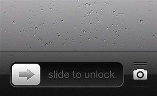 La fonction «slide to unlock» («glisser pour déverrouiller») dans iOS6, d'Apple.