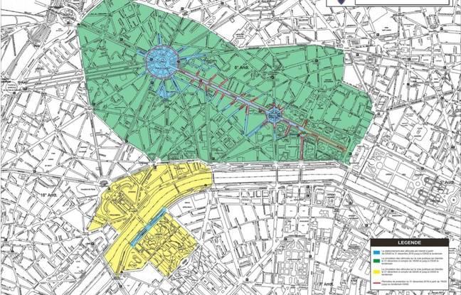 Carte des zones placées sous haute sécurité publiée par la préfecture de Paris