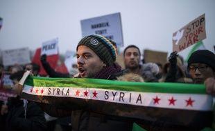 Manifestation en soutien aux habitants d'Alep à Berlin (Allemagne), le 27 décembre 2017.