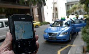 L'application Uber sur un smartphone, le 10 octobre 2014 à Singapour