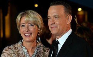 L'actrice britannique Emma Thompson et l'acteur américain Tom Hanks à l'avant-première mondiale du film «Saving Mr. Banks» à Londres, le 20 octobre 2013.