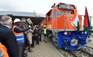 Le Premier ministre ivoirien Daniel Kablan Ducan participe au lancement officiel des travaux de la ligne Abidjan-Ouagadougou, le 9 septembre 2015 à la gare de Treichville, dans la capitale ivoirienne