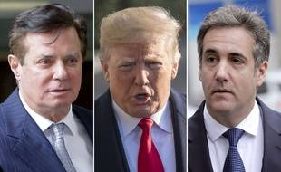 Donald Trump, entouré de son ex-chef de campagne, Paul Manafort, et de son ancien avocat Michael Cohen (photomontage).