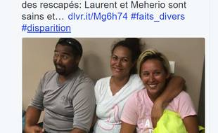 Deux Polynésiens, un frère et une soeur, ont été retrouvés vivants mardi 14 novembre par des pêcheurs au large de Tahiti, après sept jours de dérive sur leur bateau dans l'océan Pacifique.
