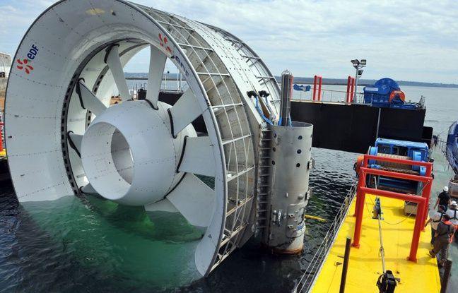 Photo prise le 31 août 2011 à Brest de l'hydrolienne qui a été immergée au large de Paimpol-Bréhat en 2016.