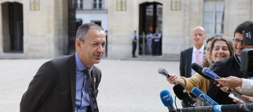 Pascal Pavageau,secrétaire général de Force Ouvrière le 17 juin 2018 à l'Elysée.