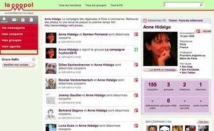 La page d'Anne Hidalgo sur le site la Coopol, le réseau social du Parti socialiste.