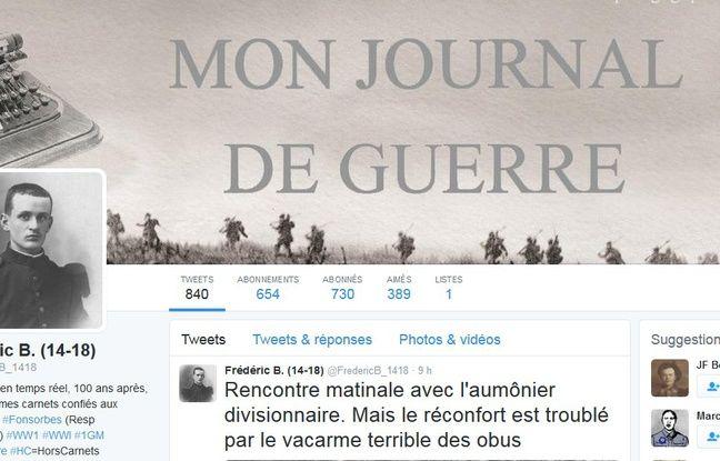 Le compte Twitter du poilu Frédéric B. alimenté par les lyvéens de Fonsorbes.