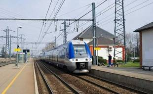 Un TER en gare de Portet-sur-Garonne (Haute-Garonne). Photo prise le 12 mars 2010.