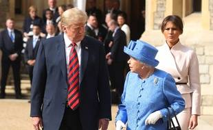 Donald et Melania Trump et la reine Elizabeth II le 13 juillet 2018 à Windsor
